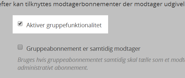 Aktiver gruppefunktionalitet